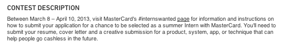 MasterCard job description called a contest
