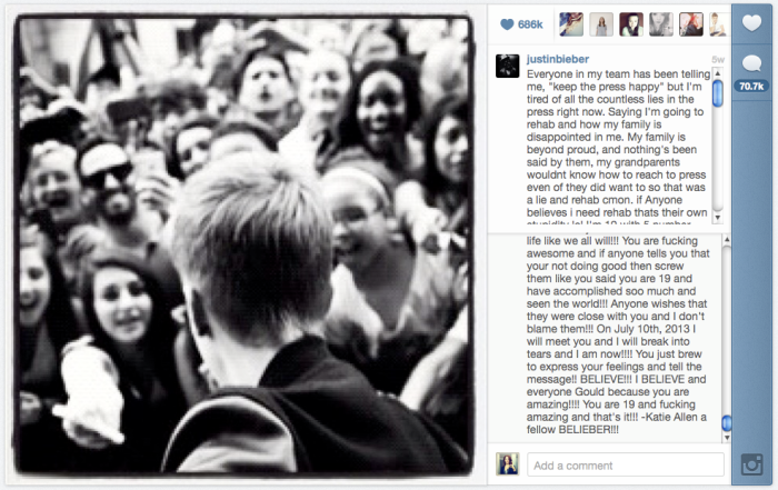 Justin Bieber rants on Instagram