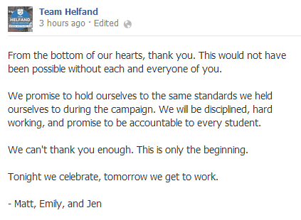 A post on Team Helfand's Facebook page following their win