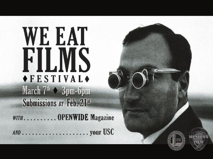 We Eat Films Festival poster, in black and white featuring a man with spectacles on